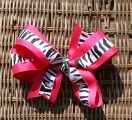 Hot Pink Zebra Print Hair Bow