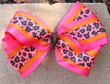 Shocking Pink Orange Cheetah Hair Bow