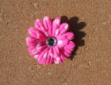 Hot Pink White Polka Dots Daisy Flower Hair Clip