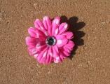 Hot Pink White Polka Dots Daisy Flower Hair Clip