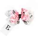 Personalized White Pink and Black Triple Layer Hair Bow