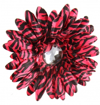 Red Zebra Print Flower Bow
