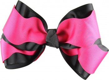 Hot Pink Scallop and Black Hair Bow