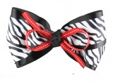Black White Zebra Print with Red Hair Bow