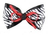 Black White Zebra Print with Red Hair Bow