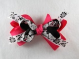 Hot Pink with Black and White Flowers Hair Bow