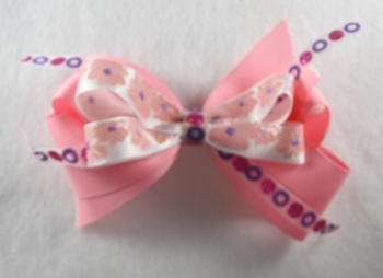 Light Pink Flowers and Circles Hair Bow