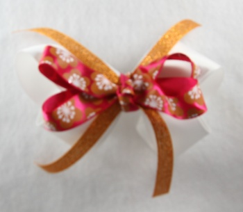 Orange Hot Pink Flowers Hair Bow
