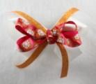 Orange Hot Pink Flowers Hair Bow