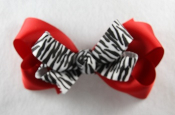 Red with Zebra Print Hair Bow