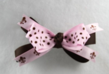 Chocolate Brown Pink Polka Dots and Fleur De Leis Bow