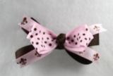 Chocolate Brown Pink Polka Dots and Fleur De Leis Bow