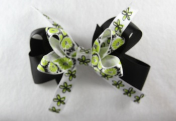 Black Lime Green Flower Hair Bow