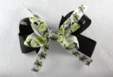 Black Lime Green Flower Hair Bow