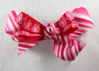 Hot Pink Stripes and Flowers Hair Bow