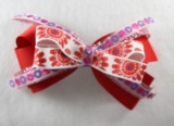 Red  Sparkle Flowers Hair Bow