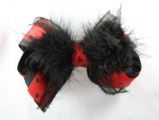 Cruella Deville Black and Red Polka Dots Fur Hair Bow