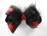 Cruella Deville Black and Red Polka Dots Fur Hair Bow