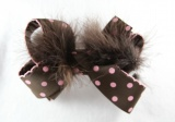 Chocolate Brown Pink Polka Dots Feather Bow