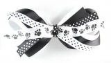101 Dalmations Paw Prints Black and White Hair Bow