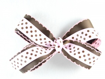 Chocolate Brown Pink Polka Dots Bow