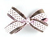 Chocolate Brown Pink Polka Dots Bow