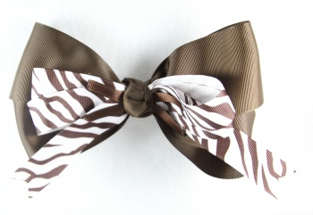 Brown and White Zebra Print Hair Bow