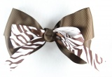 Brown and White Zebra Print Hair Bow