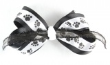 Black and White Dog Paw Prints Hair Bow