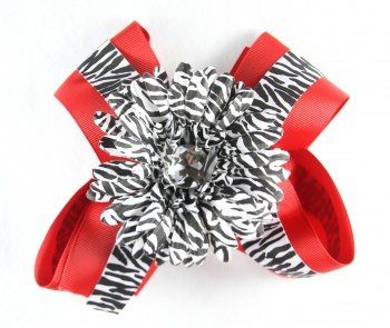 Red with Zebra Print and Zebra Flower Hair Bow