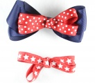 Blue with Red Polka Dots and Stars Hair Bow