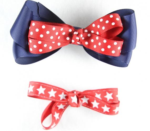 red and black polka dot design bow hair ponio set Three pairs navy