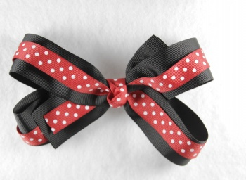 Black Red Polka Dots Double Layer Grosgrain Hair Bow