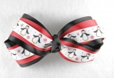 Black Red Christmas Snow Penguins Hair Bow