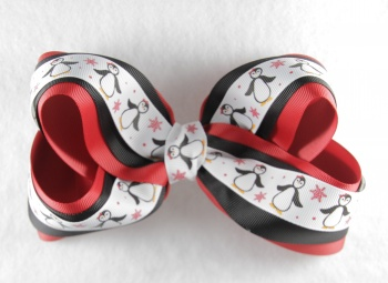 Red Black Christmas Snow Penguins Hair Bow