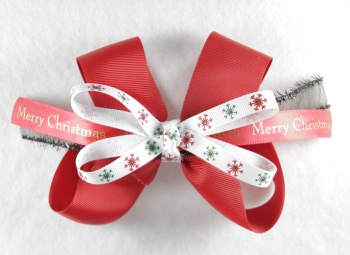 Red Merry Christmas Snowflake Hair Bow