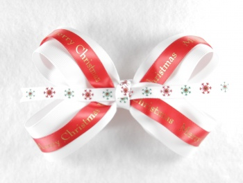 White Red Merry Christmas Hair Bow