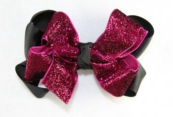 Pink Sparkling Glitter Black Grosgrain Hair Bow