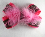 Pink Feather Cowgirl Hair Bow