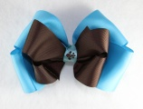 Turquoise Chocolate Brown Fleur De Leis Hair Bow