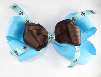 Large Turquoise Chocolate Brown Fleur De Leis Hair Bow