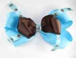 Large Turquoise Chocolate Brown Fleur De Leis Hair Bow