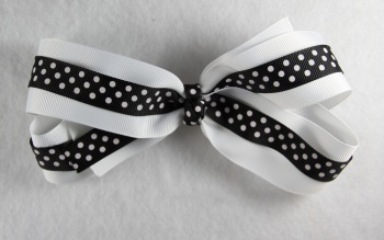 White and Black Polka Dots Grosgrain Hair Bow