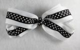 White and Black Polka Dots Grosgrain Hair Bow