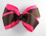 Shocking Pink and Chocolate Brown Layered Hair Bow
