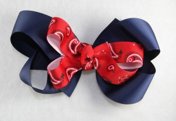 Navy Blue Red  Paisley Hair Bow