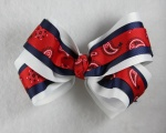 White Red Blue Paisley Hair Bow