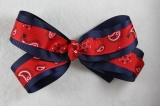 Navy Blue Layered Red Paisley Hair Bow
