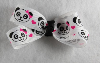 Panda Bear Faces Hair Bow