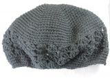 Black Cotton Crochet Beanie